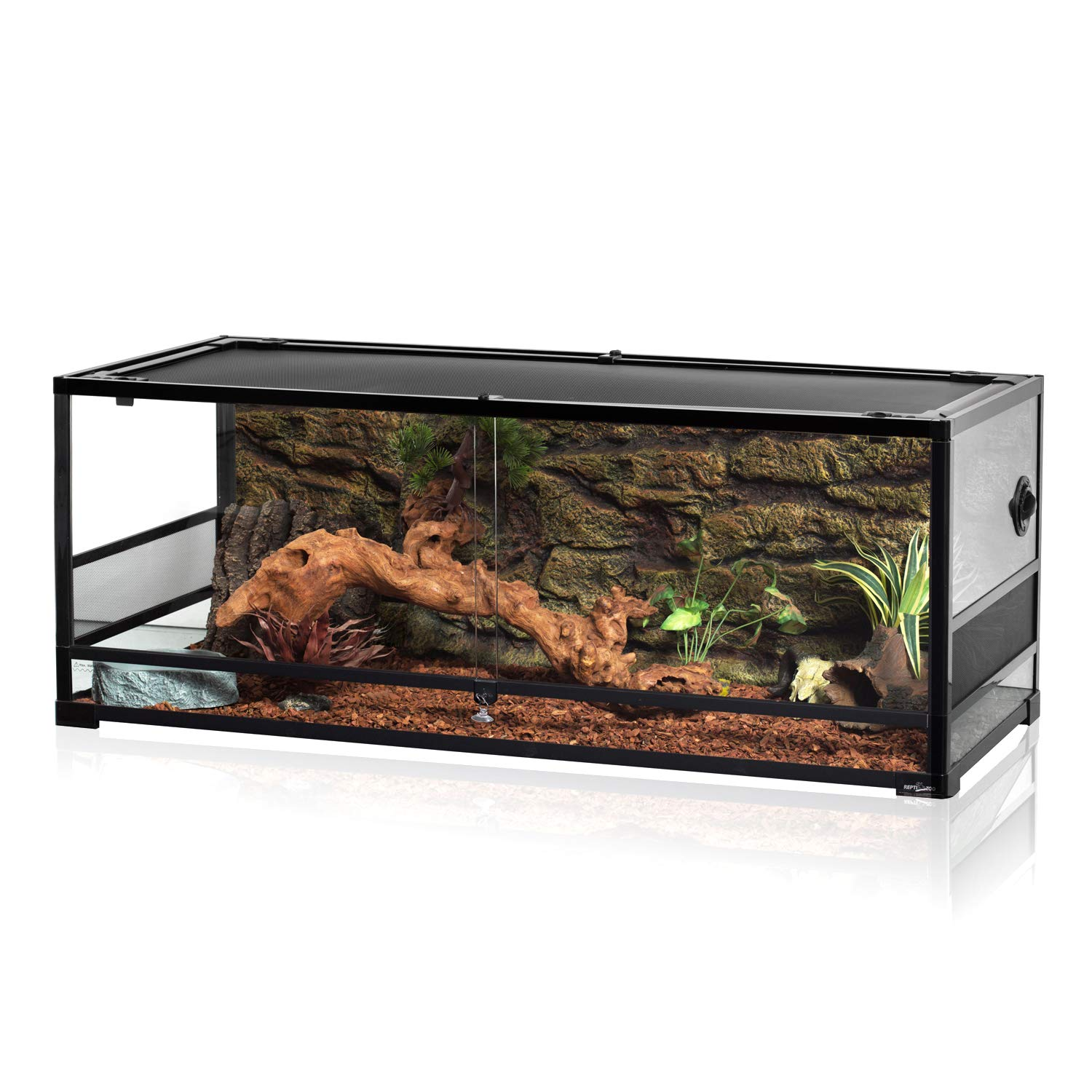 REPTI ZOO 67Gallon Reptile Large Terrarium Upgrade Glass Front Opening Tank Sliding Door with Screen Ventilation Reptile Terrarium About 48'' x 18'' x 18''(Knock-Down) by REPTI ZOO