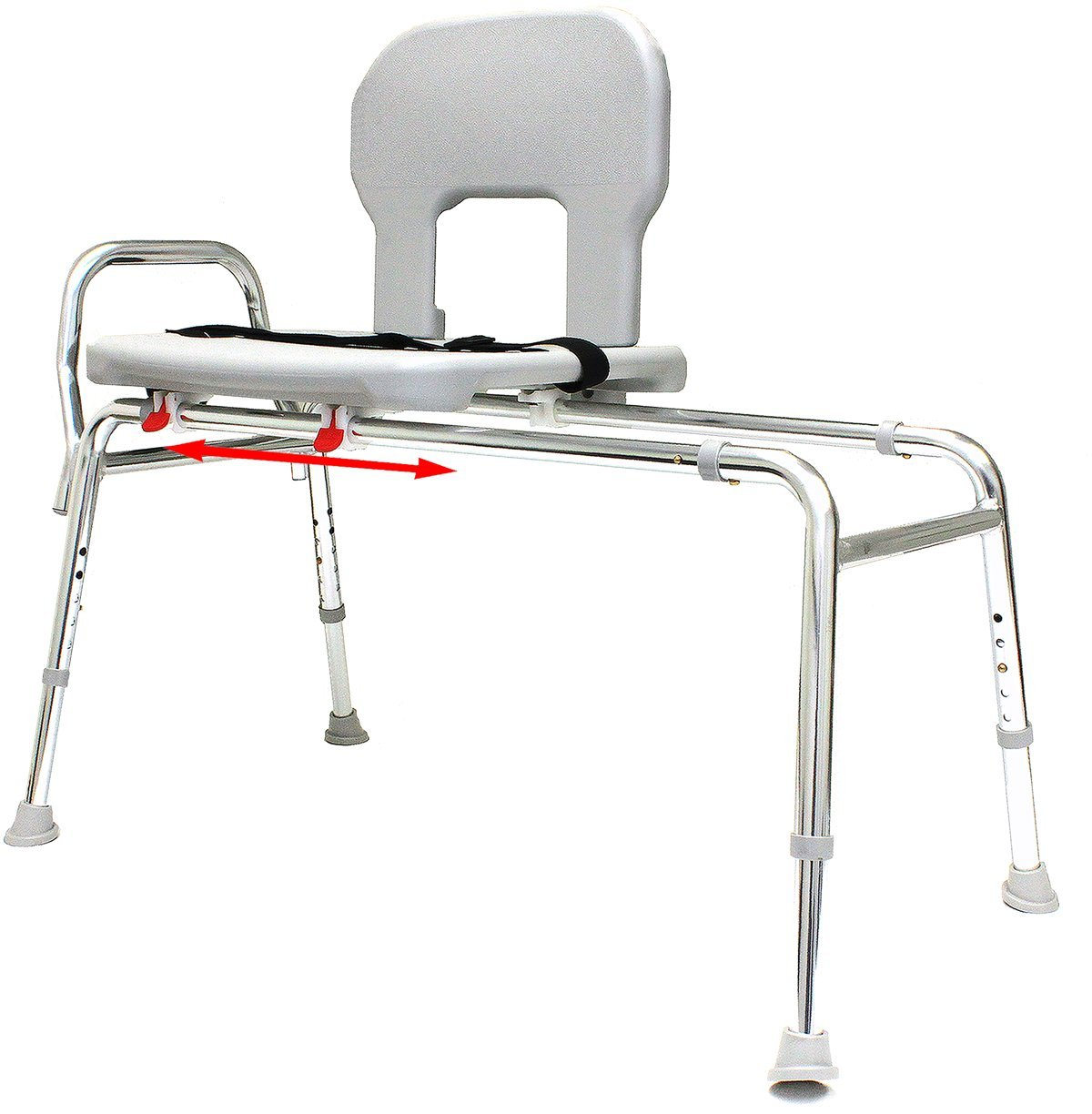 Tall Bariatric Sliding Bath Transfer Bench (56291) - Long (Base Length: 48.5'' - 50'') - Heavy-Duty Shower Bathtub Chair - Eagle Health Supplies