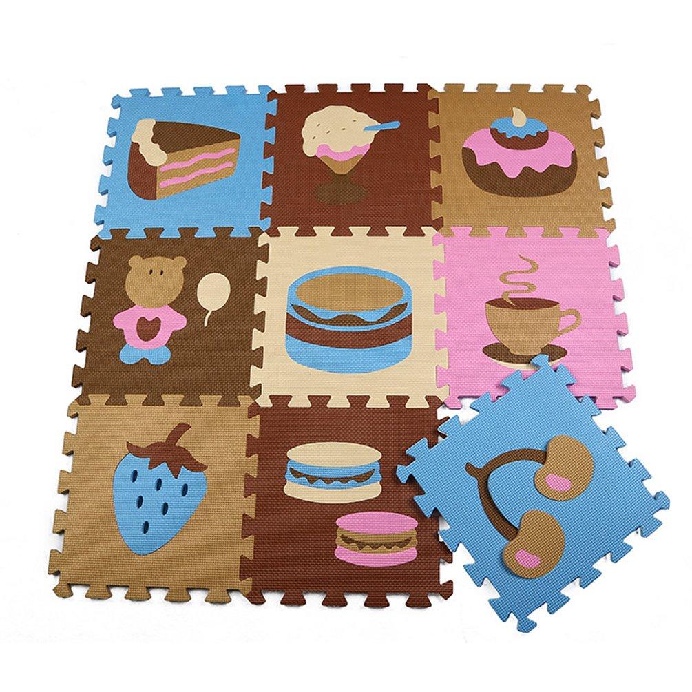 Menu Life P020 style gâteau En mousse tapis de jeu Interlocking EVA Doux Jigsaw Tapis Puzzle En mousse Bébé Enfant Aire de jeux Mats Yoga d'exercice (30 x 30 x 1cm, 9pcs Jouer Mats Sans Clôtures) ML-P020