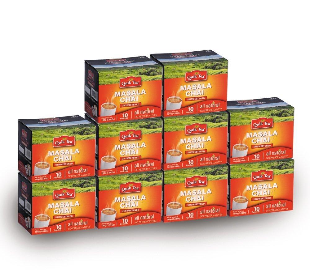Chai Tea Latte - Masala Chai Tea 100 Latte Tea Pouches (Unsweetened) By QuikTea by Quik Foods, Inc.