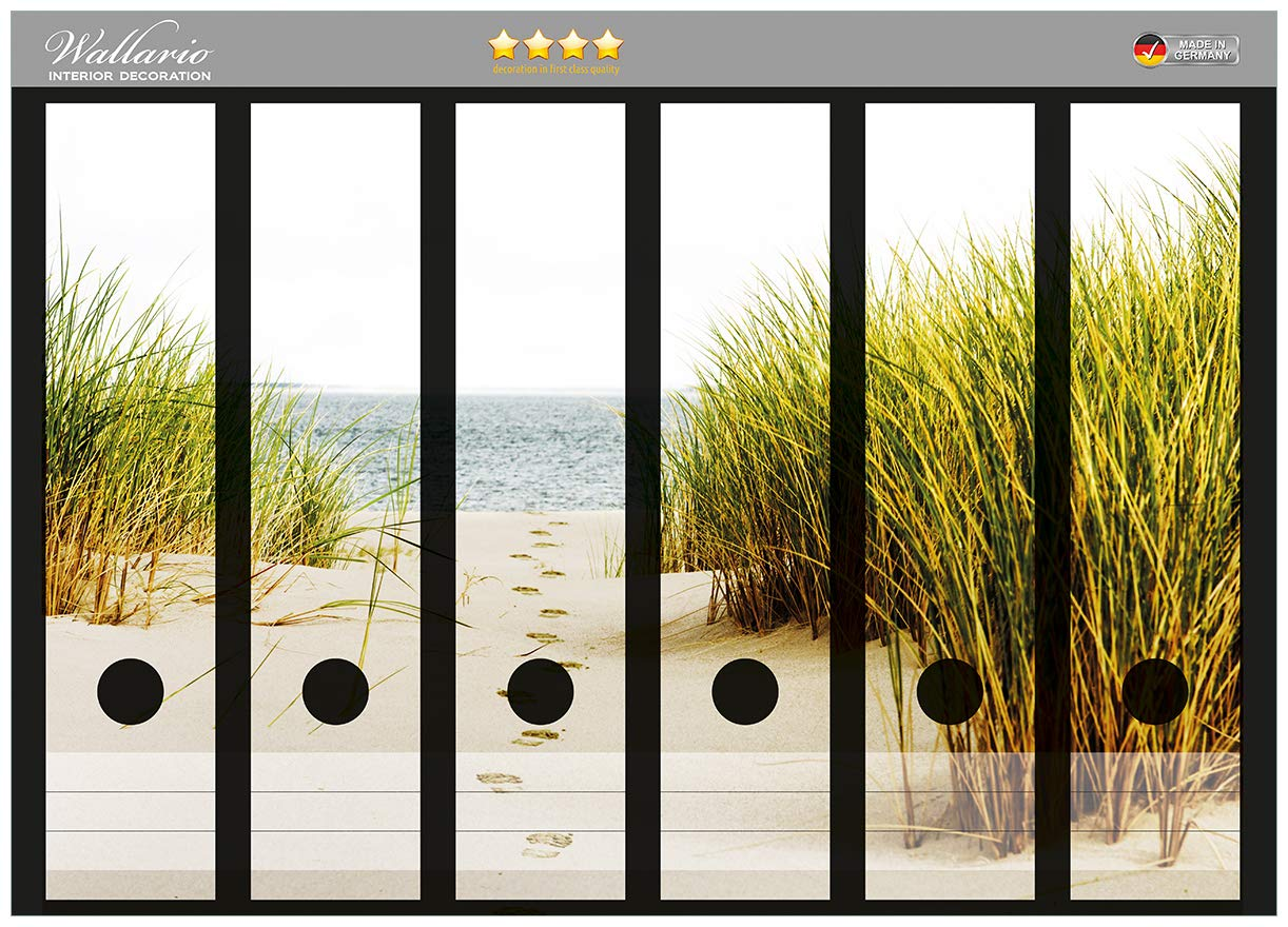 Düne am Strand Sand Wallario Ordnerrücken selbstklebend 8 schmale Ordner