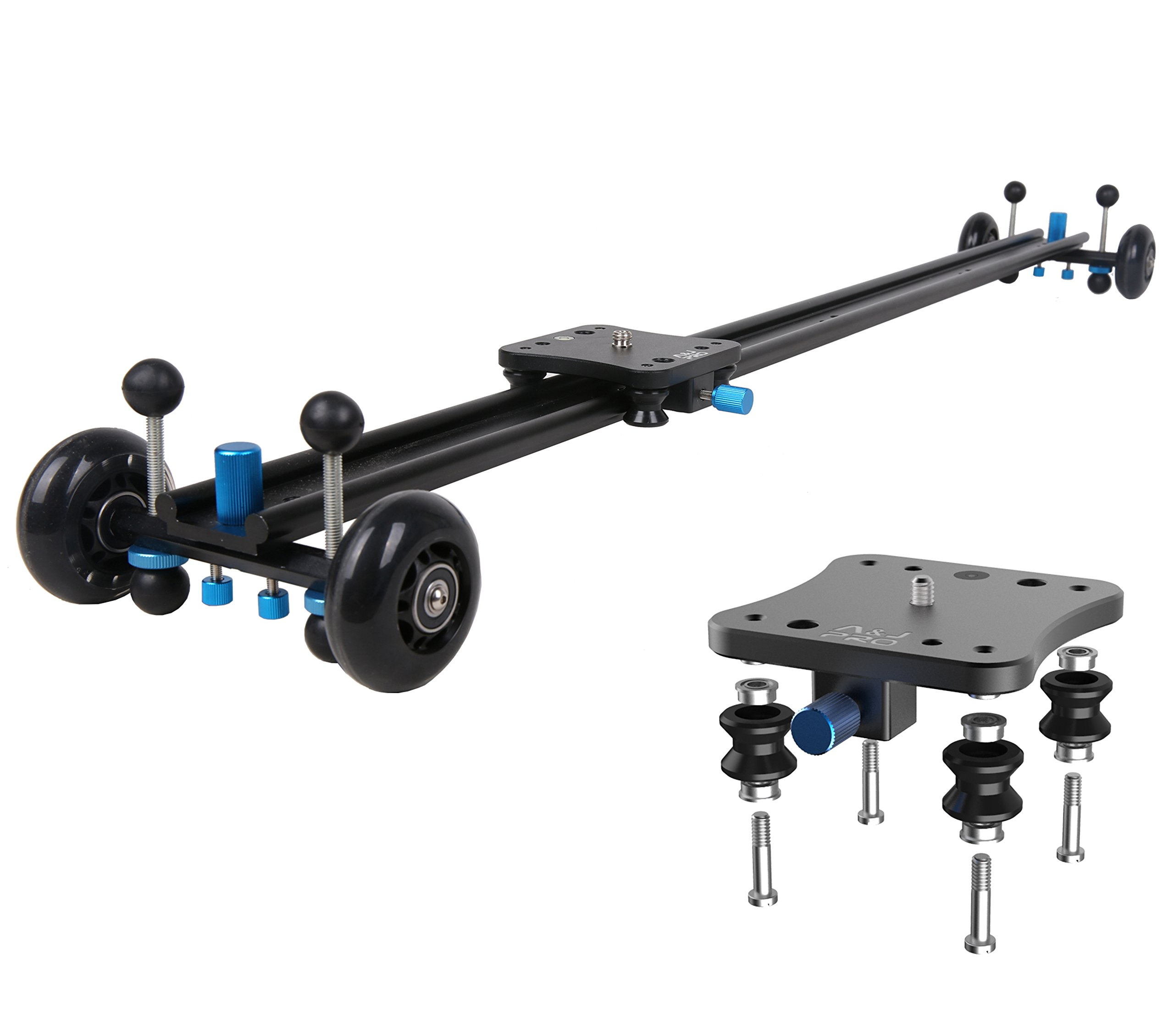 A&J ANJMVSL100 Camera Slider with Aluminum Rail & 4 Wheels Video Dolly Track Photography Stabilizer for DSLR Camera, Black by A&J