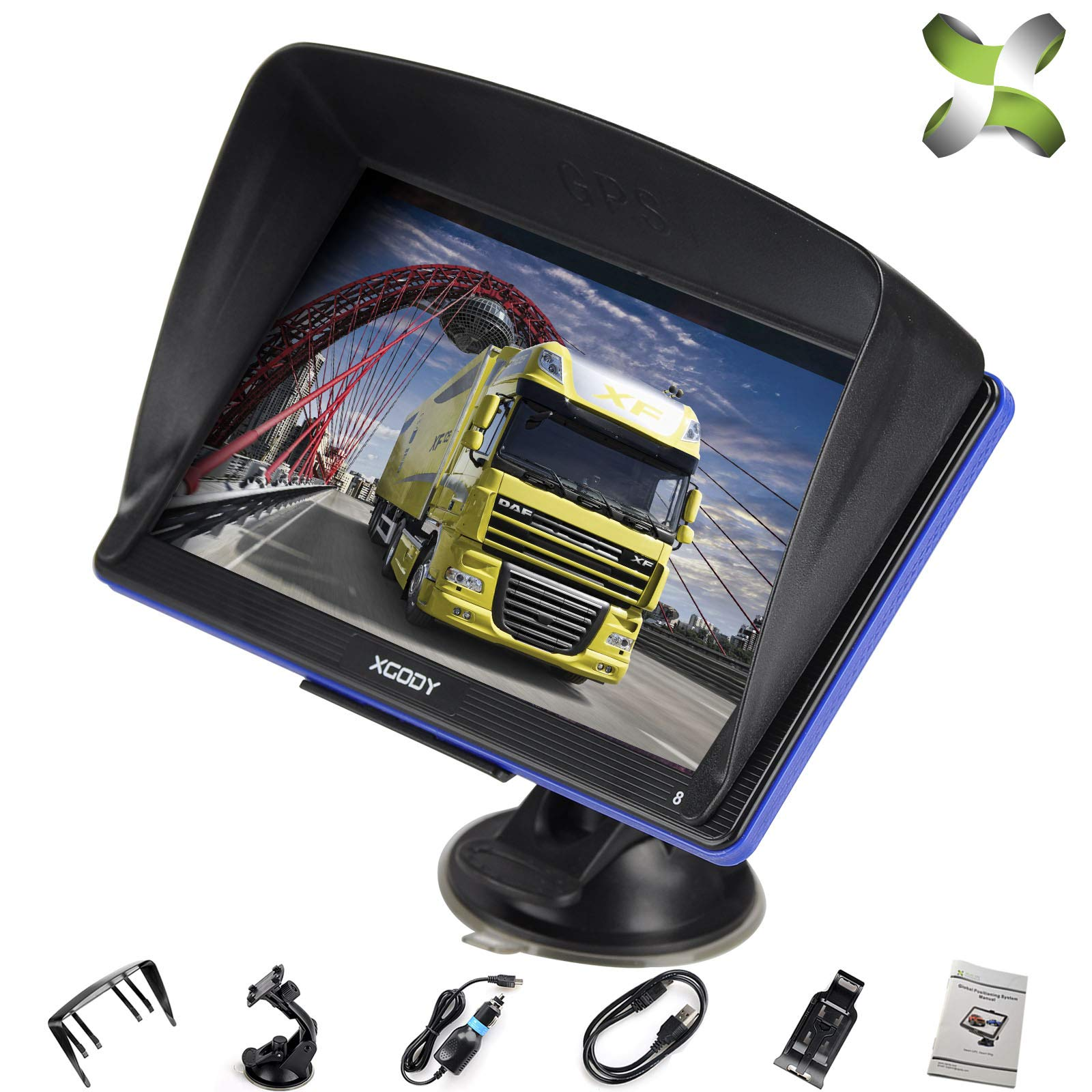 xgody Truck GPS Navigation for Car, 7 inches 8GB Lifetime Map Update Spoken Turn-to-Turn Navigation System for Cars, BT speedcam map Vehicle GPS Navigator Lifetime Free Maps