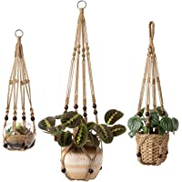 Mkono 3 Pack Macrame Plant Hangers Indoor Hanging Planter Basket Flower Pot Holder with Beads No Tassels 23