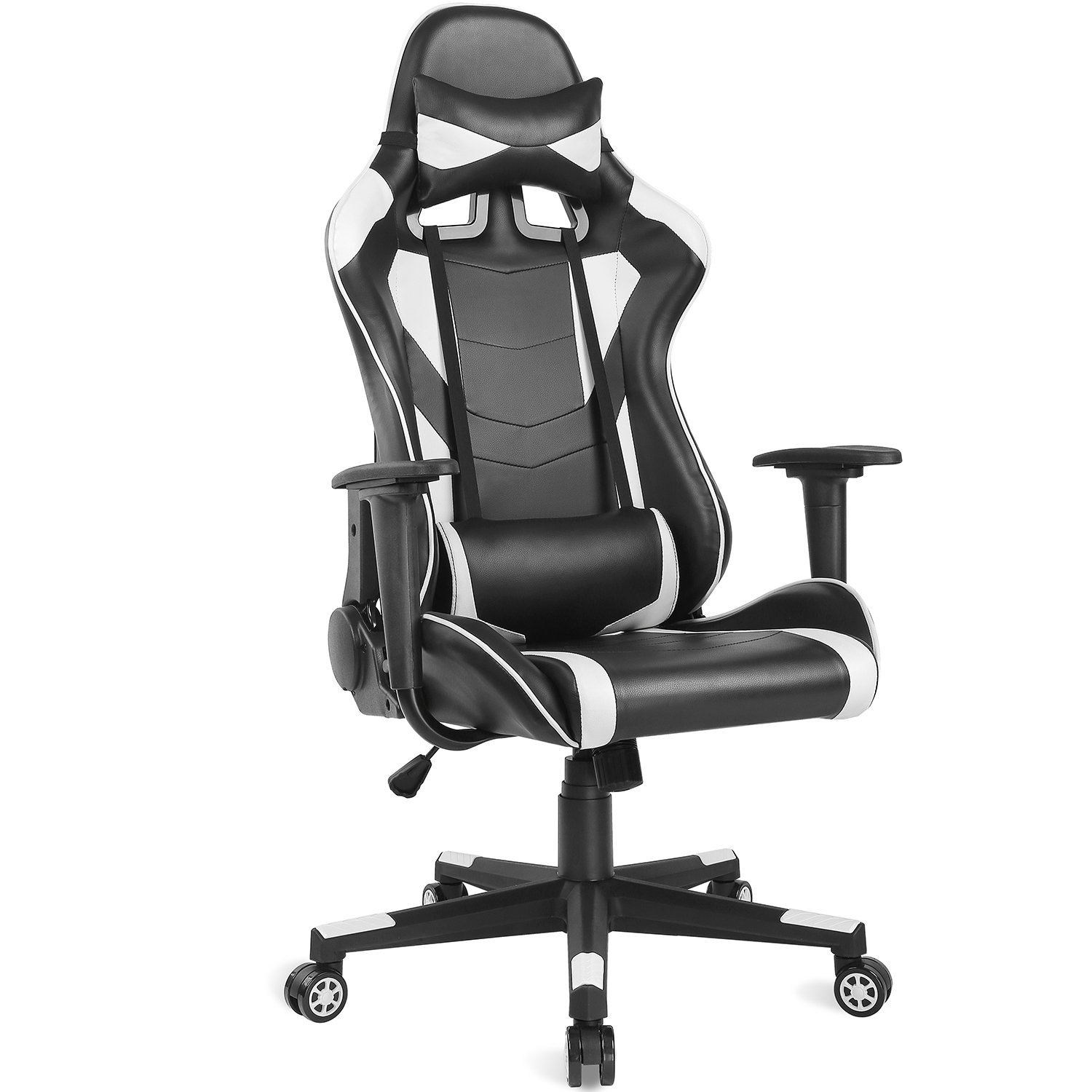 Ergonomic Gaming Chair Racing Style Adjustable High-Back PU Leather Office Chair Computer Desk Chair Executive and Ergonomic Style Swivel Video Chair with Headrest and Lumbar Support-White