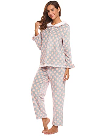 269f5ddf93 L amore Women s Thermal Pajamas Fleece Plush Lace Patterned Pajama Set  (Purple Deer