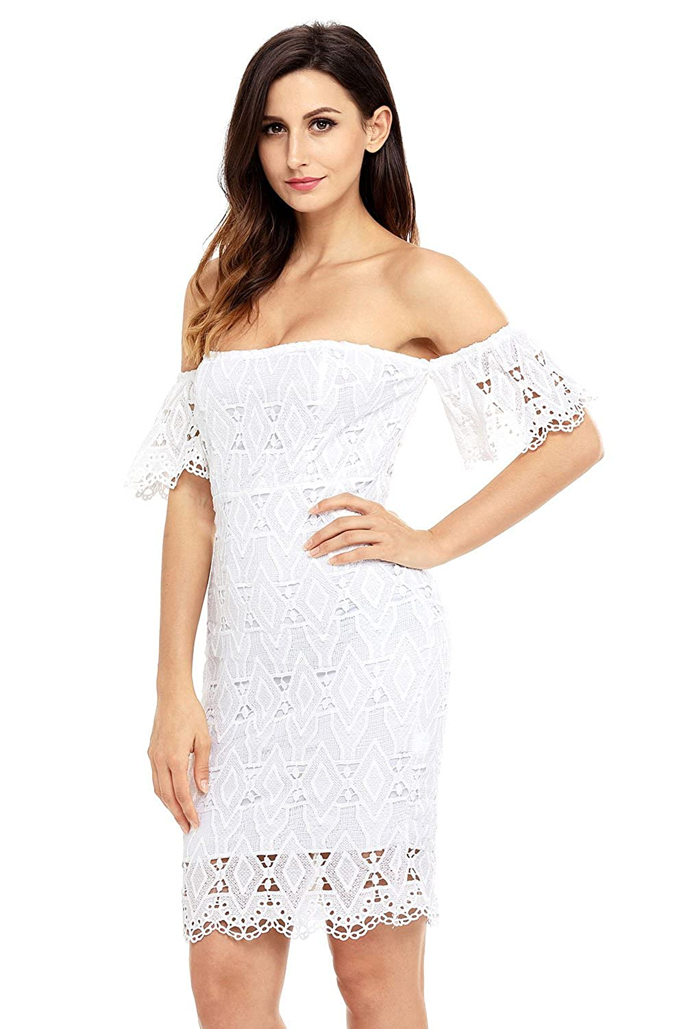 2c8219738697 Milocos Women's summer elegant white off shoulder lace dress: Amazon.co.uk:  Clothing