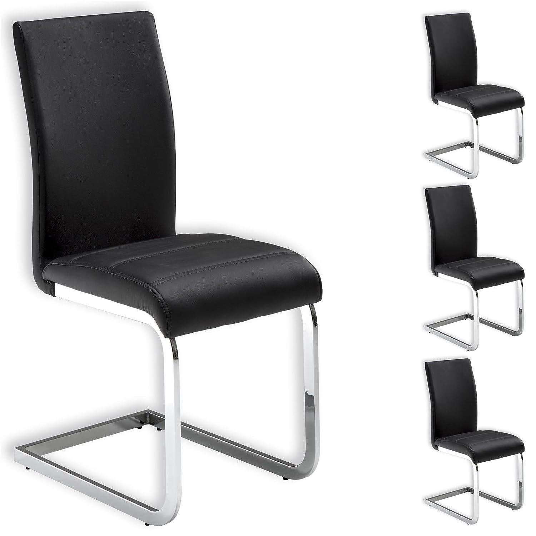 4er Set Schwingstuhl Esszimmerstuhl Sitzgelegenheit LETICIA,schwarz.