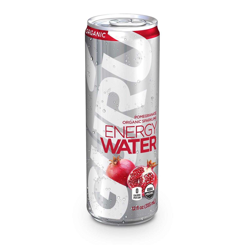 GURU Organic Energy Water, Sugar Free, Zero Calorie, Sparkling Water with Natural Caffeine, Pomegranate, 12-Ounce (24 Count) by Guru
