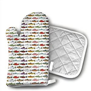 NOT Rainbow Colored Trout and Salmon Oven Mitts,Heat Resistant Oven Gloves Insulation Thickening Cotton Gloves Baking Kitchen Cooking Mittens with Soft Inner Lining