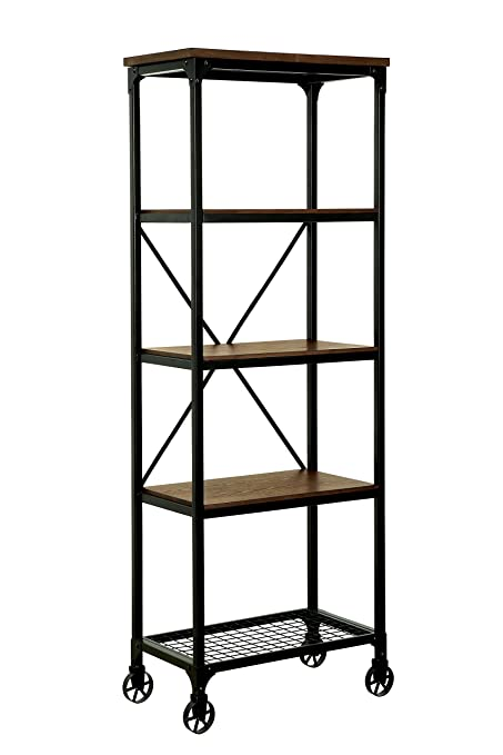 HOMES Inside Out Caridad Industrial Two Tone Bookshelf Small Medium Oak