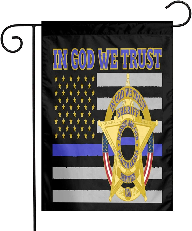 Cbxzyzzc Sheriff Deputies in God We Trust American Outdoor Decoration Banner for Yard Lawn 12 X 18 Inch USA Garden Flag