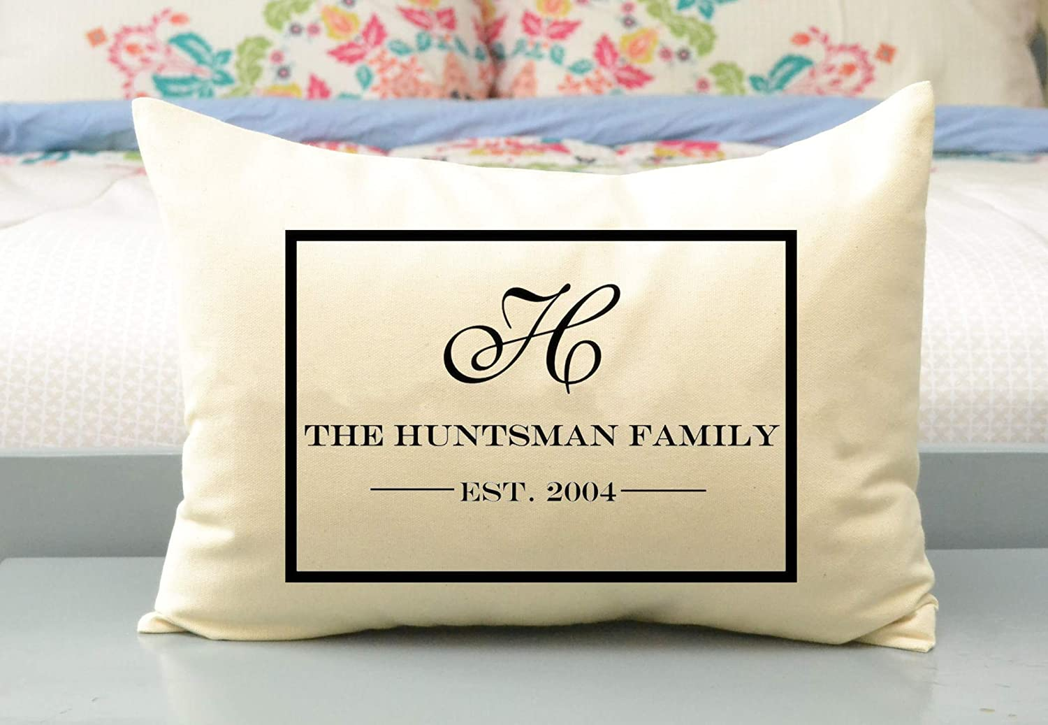 B015TBLK9E Personalized Couples Pillow and Family Name Pillow with Large Monogram and Established Date Cotton Anniversary 2nd Anniversary Gift Huntsman 71IQR96506L