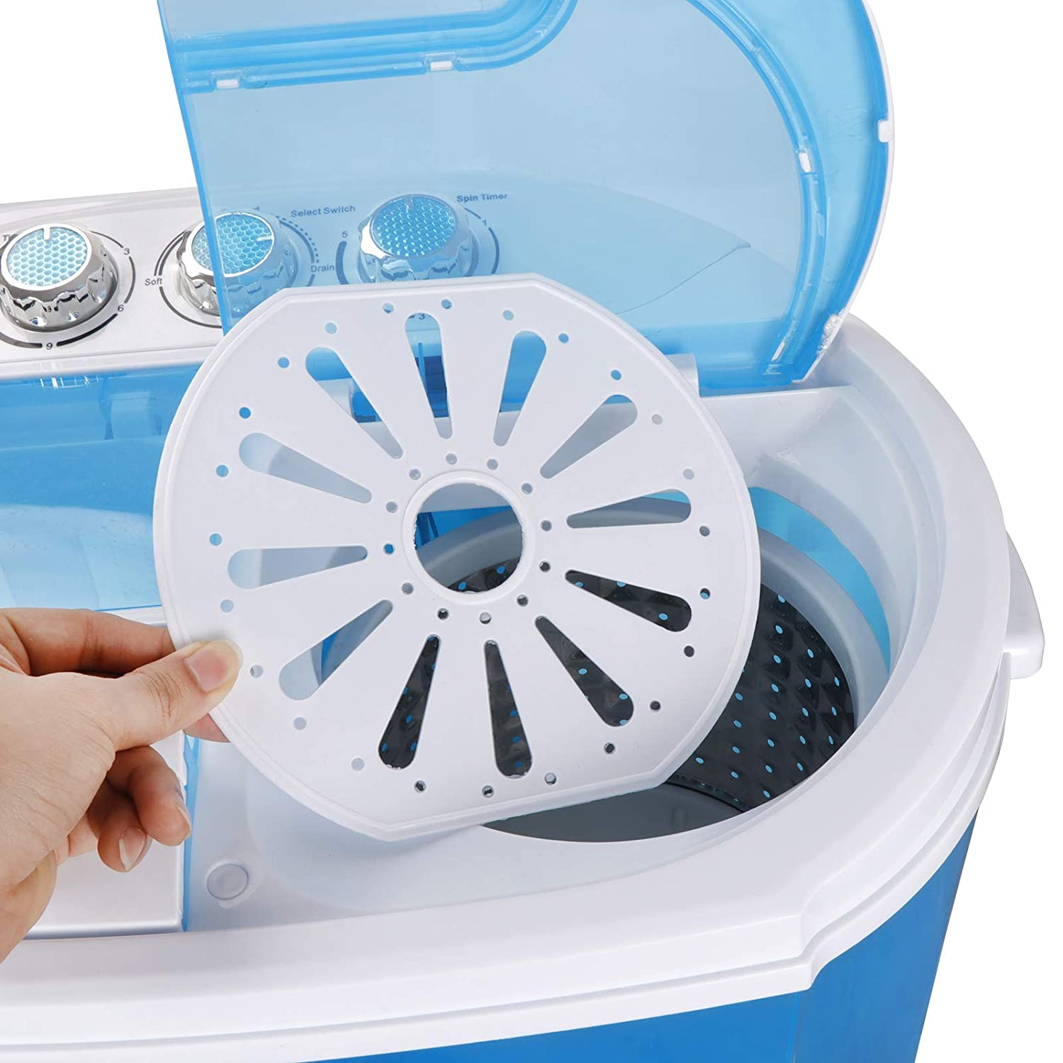 SUPER DEAL Portable Washing Machine Twin Tub 10lbs Capacity with Spin Cycle Dryer Lightweight for Apartments Dorm Rooms