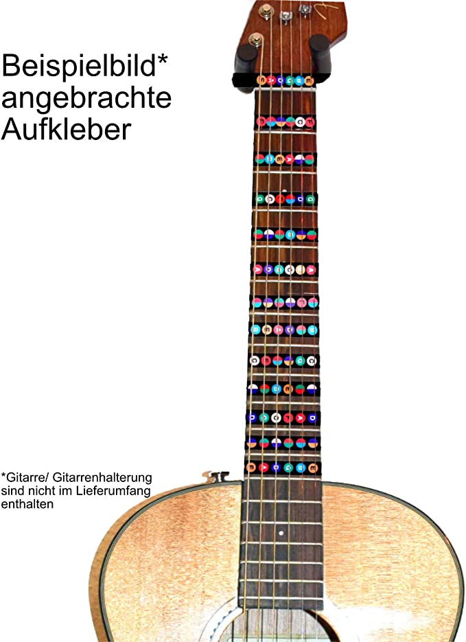 E-A-D-G-B-E - Pegatina para diapasón de guitarra, diseño de notas ...
