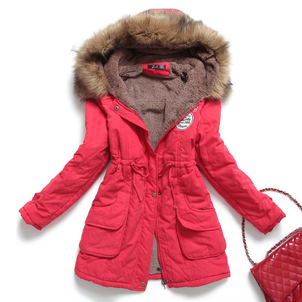 Womens Hooded Warm Winter Coats Faux Fur Lined Parkas Black Pink Green Blue  Red: Amazon.ca: Clothing & Accessories