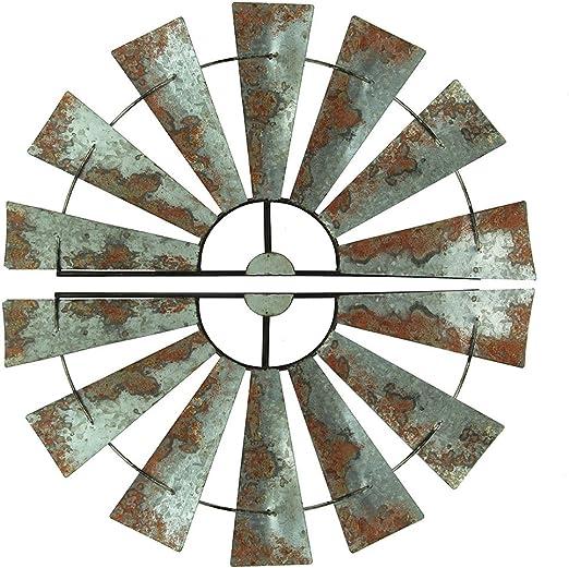 30 Special T Imports Galvanized Metal Half-Windmill Wall Sculpture