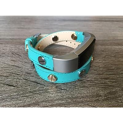 2tours Unique Turquoise Bande de cuir pour Fitbit Alta et Alta HR fait main écologique Bracelet avec de multiples Bicolore Argenté et Doré rivets en BSI