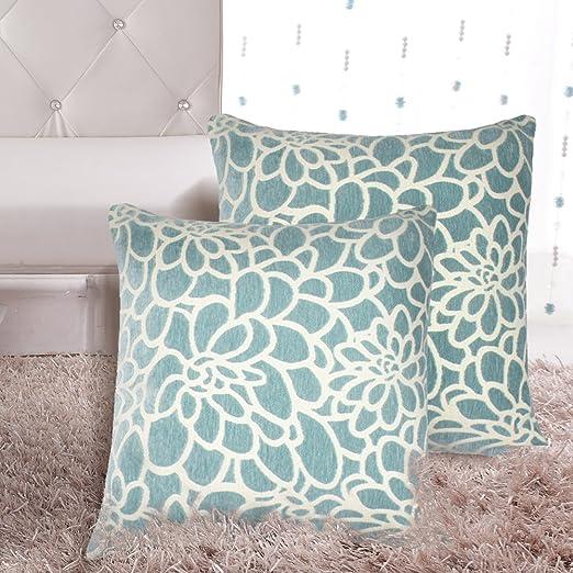 MRNIU 2 Piezas Cojines Azules para Sofa Funda de Cojín 45 * 45 Funda de Almohada de Decoración para el Hogar Dormitorio Tapizado 18 * 18 Fundas ...