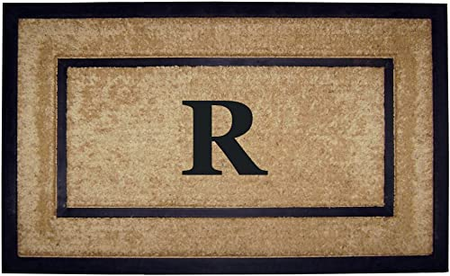 Nedia Home Single Picture Black Frame with Coir Rubber Border Dirt Buster Mat, 22 by 36-Inch, Monogrammed R