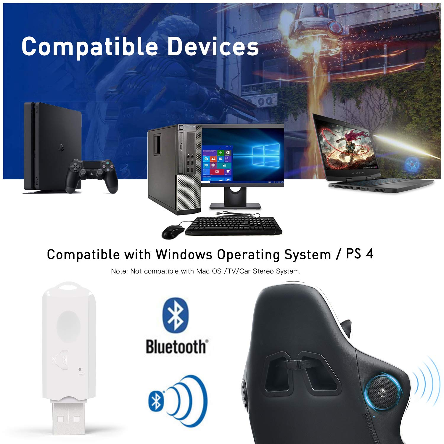GTRACING Bluetooth USB Adapter Transmitter V5.0 Wireless Dongle for PC Laptop Computer PS4 Connects Audio Gaming Chair Bluetooth Speakers Headphones Support All Windows XP//Vista//7//8//Win10 BA001