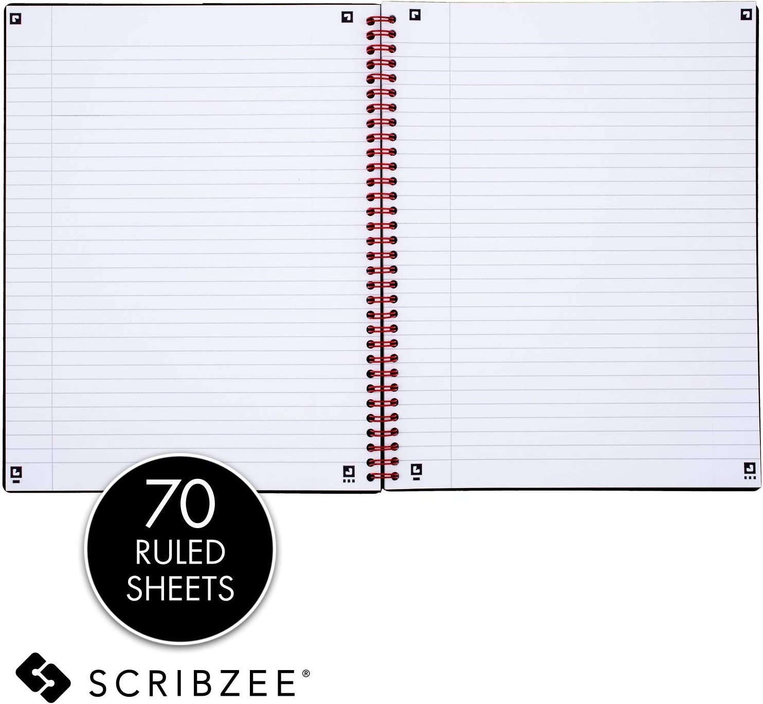K66652 Black n Red Twin Spiral Poly Cover Notebook Pack of 1 70 Ruled Sheets Black Large 11 x 8-1//2 inches