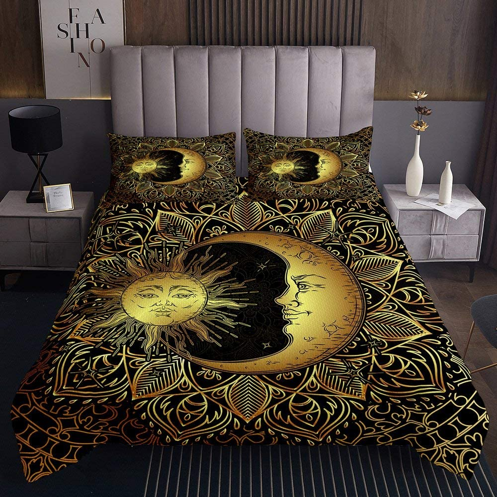 Erosebridal Bohemian Bedspread King Size 3D Golden Sun and Moon Printed Bedding Set for Kids Teens Adults Mandala Quilted Coverlet Dreamcatcher Coverlet Set, Trippy Boho Hippie Decor, Black