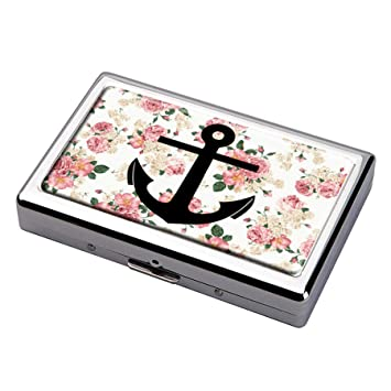 Anchor Wallpaper Tumblr Cigarette Case Business Card Holder Stainless Steel Silver Metal Wallet Protection