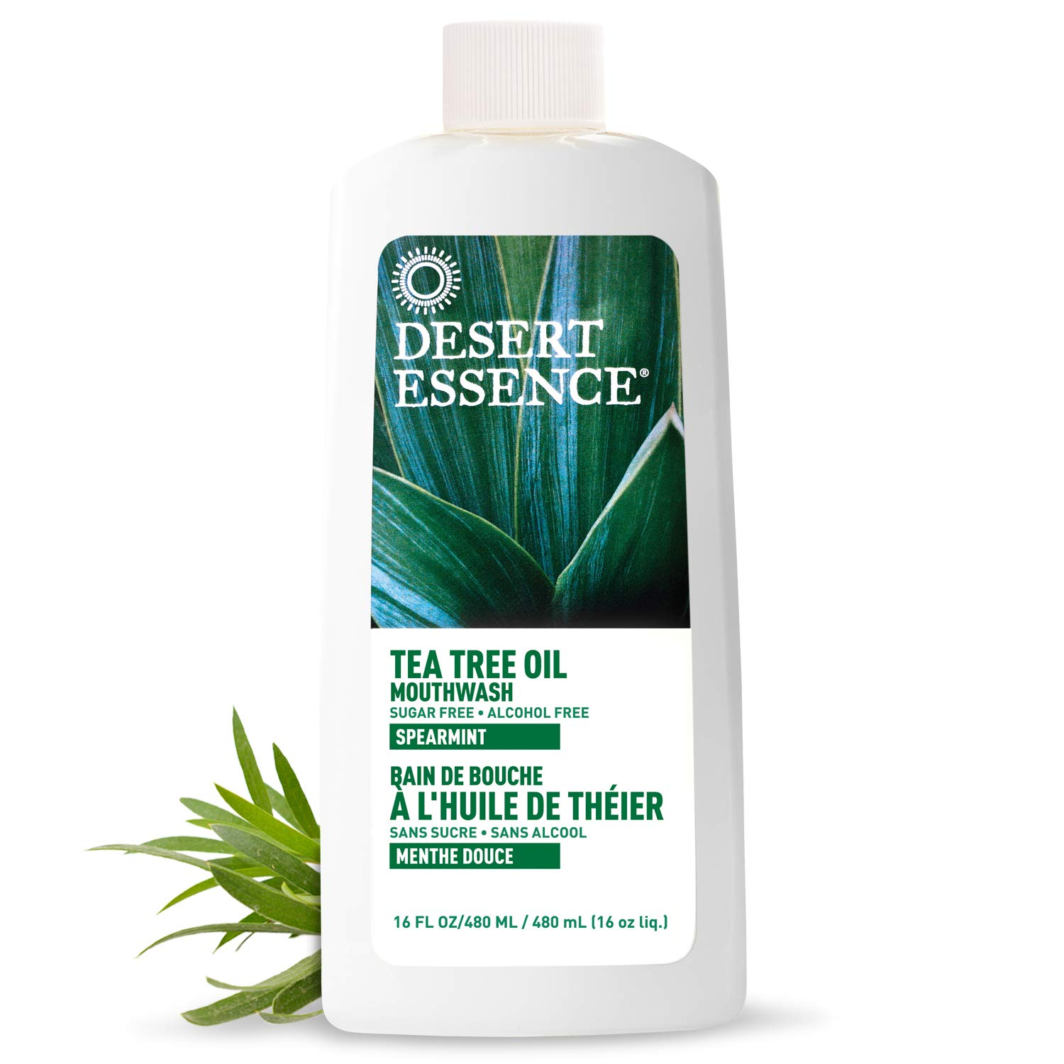 Desert Essence Tea Tree Oil Mouthwash - 16 Fl Oz - Pack of 2 - Natural Refreshing - Spearmint Flavor - Helps Reduce Plaque Buildup - Refreshes Mouth & Gums - Vitamin C - Oral Care - No Parabens