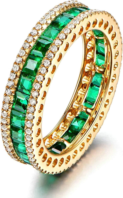 Bishilin Oro Amarillo 18K Anillos de Boda para Mujer Verde Esmeraldaesmeralda Redonda con Incrustaciones de 3.5 Quilates con Diamantes de 0.45 Quilates Verde Dorado Anillo de Matrimonio de Compromiso