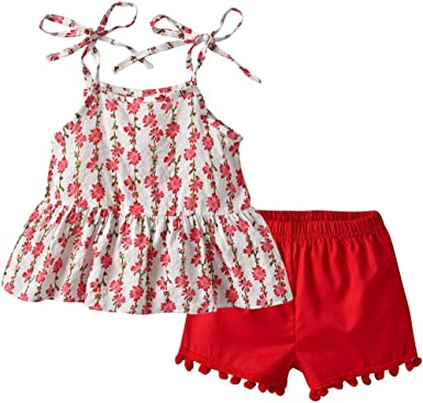 Fabal Infant Baby Girl Kid Plaid Printed Bow Vest Tops T Shirt+Shorts Outfits Set