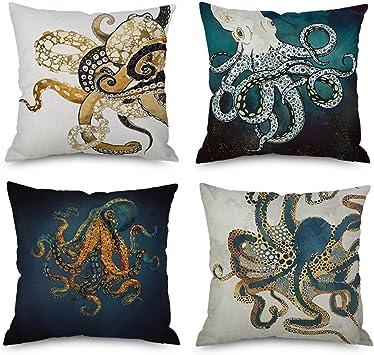 Undersea creature Pillow Case Cotton Linen Car Sofa Cushion Cover Home Decor