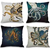 Pack of 4,Ink Painting Marine Octopus Squid Sea Animals Cotton Linen Decorative Throw Pillow Case Personalized Cushion…