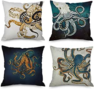 Pack of 4,Ink Painting Marine Octopus Squid Sea Animals Cotton Linen Decorative Throw Pillow Case Personalized Cushion Cover for Sofa Couch Bed Square 18 X 18 Inches (Pack of 4)
