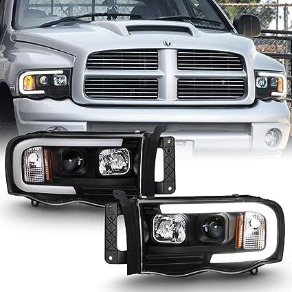2002-2005 Dodge Ram Smoke Headlights w// Clear Reflector+Driving Fog Lamps