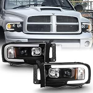 ACANII - For 2002-2005 Dodge Ram 1500 2500 3500 Black LED Tube Projector Headlights Assembly Headlamps Driver+Passenger