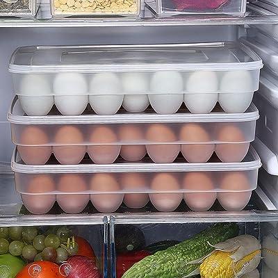 BeatlGem 34 Oeufs Titulaire Boîte De Rangement Pique-Nique Cuisine Réfrigérateur Contenant Fresh-Keeping Transparent