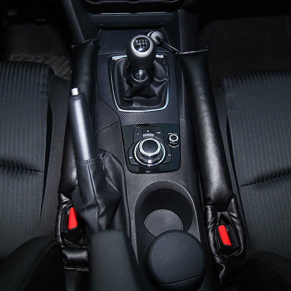 2 Pack Black Sikiwind Seat Gap Filler Leakproof Car Seat Gap Filler Pad Drop Stop Blocker