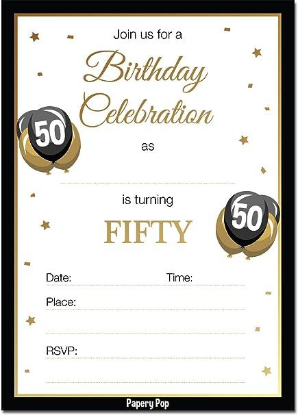 Amazon.com: Invitaciones de cumpleaños de 50 años con sobres ...