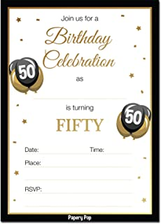 Amazon 50th birthday party invitation cards with envelopes 25 50th birthday invitations with envelopes 30 count 50 fifty year old anniversary party stopboris Gallery