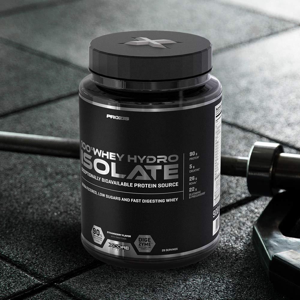 Prozis 100% Whey Hydro Isolate SS Mejor Sabor Para la Quema De Grasas, la Recuperación Muscular y la Musculación, bajo en Carbohidratos, Fresa - 900 g