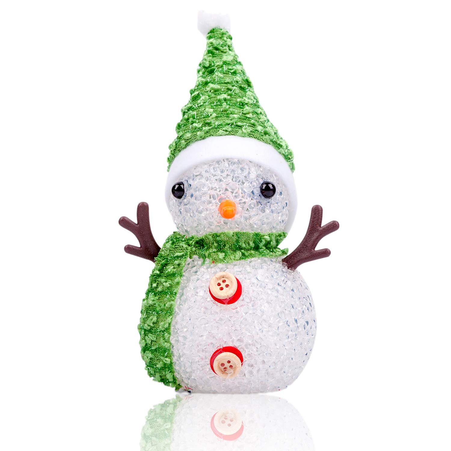 ModestLuxury Christmas Snowman Kids Night Light Multicolor Bedside Baby Nursery LED Lamp Room Decor for Women Bedroom Toy Decorations Battery Operated Blinking 7-Color, Strawberry Red Hat Scarf