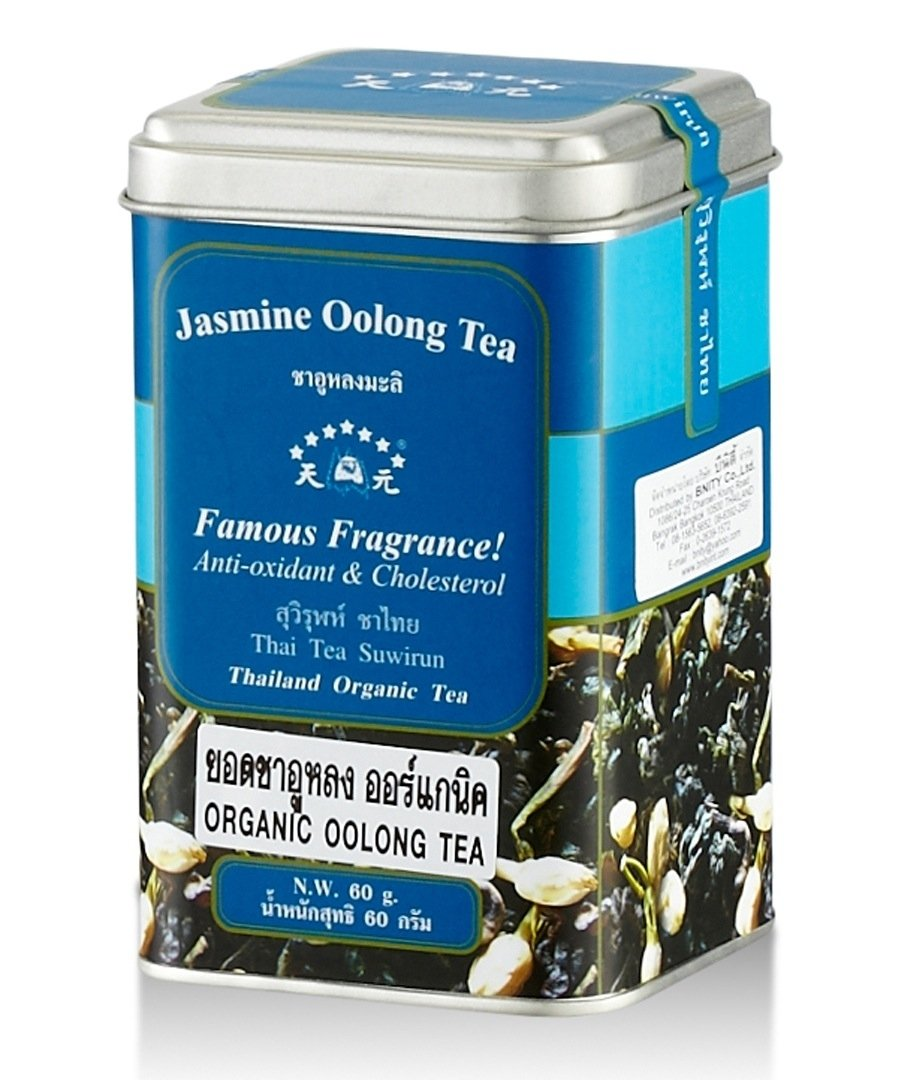 Suwirun Thai Tea ,Oolong Jasmine Tea Leaves Organic - 2.11 Ounces Tin