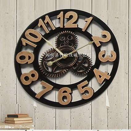 MQHY Engranaje-3D Reloj de pared Relojes Retro Arte Madera Salón Creativa arte hecho a