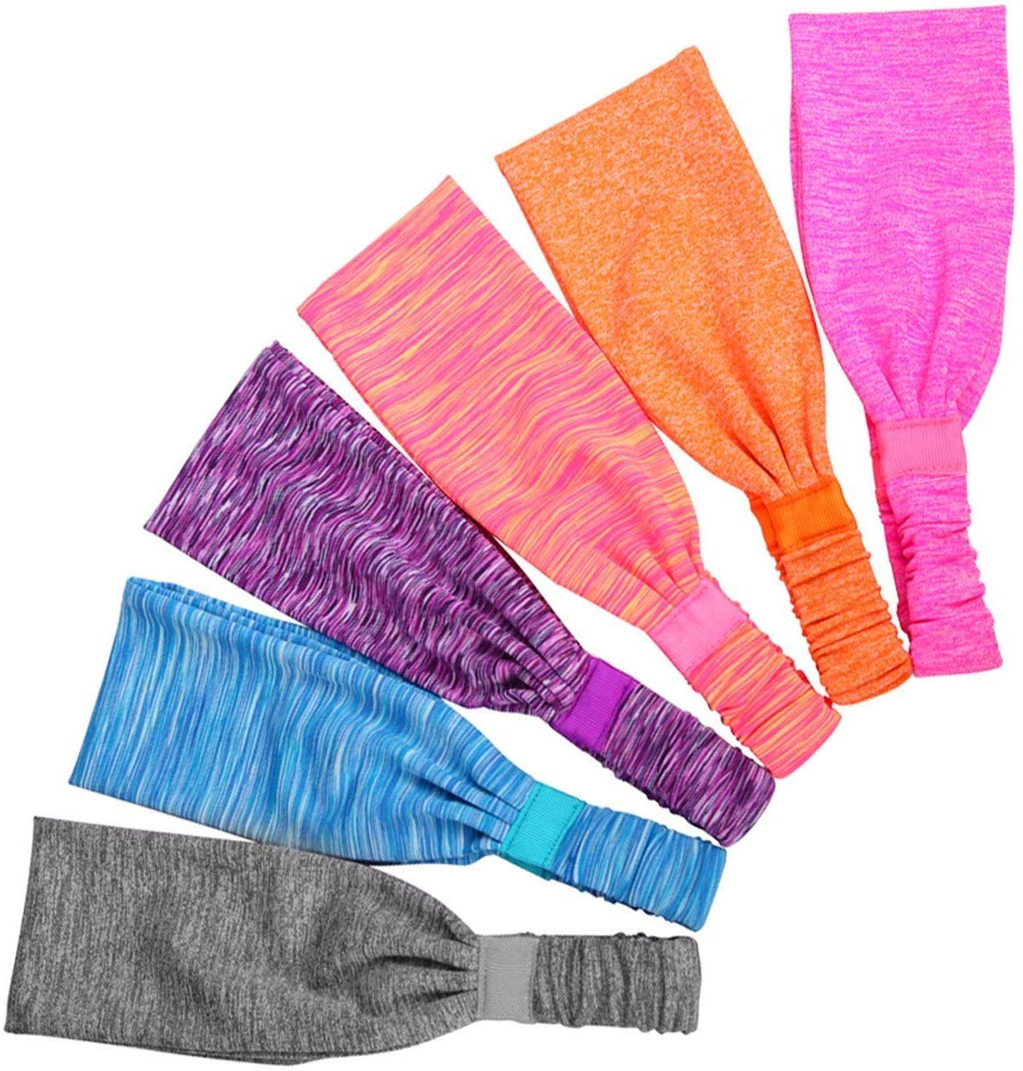 Dream Wings 6 Pack Sports Headband,Sports Perspiration /& Forehead Protection Suite Workout Headbands for Women and Men Non Slip