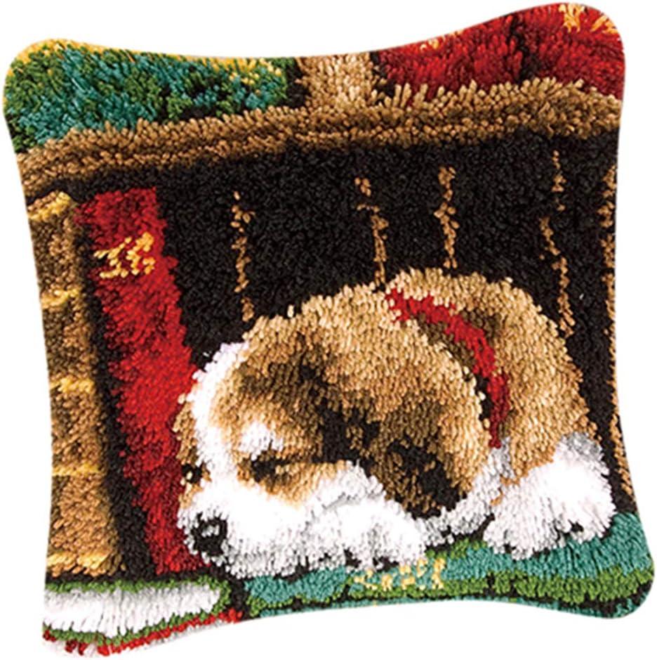Baoblaze DIY Tier Kissenbezug Kn/üpfen f/ür Kinder und Erwachsene zum Selber Kn/üpfen Kissen H/ülle Hund 2 Latch Hook Kit Hund//Katze Muster