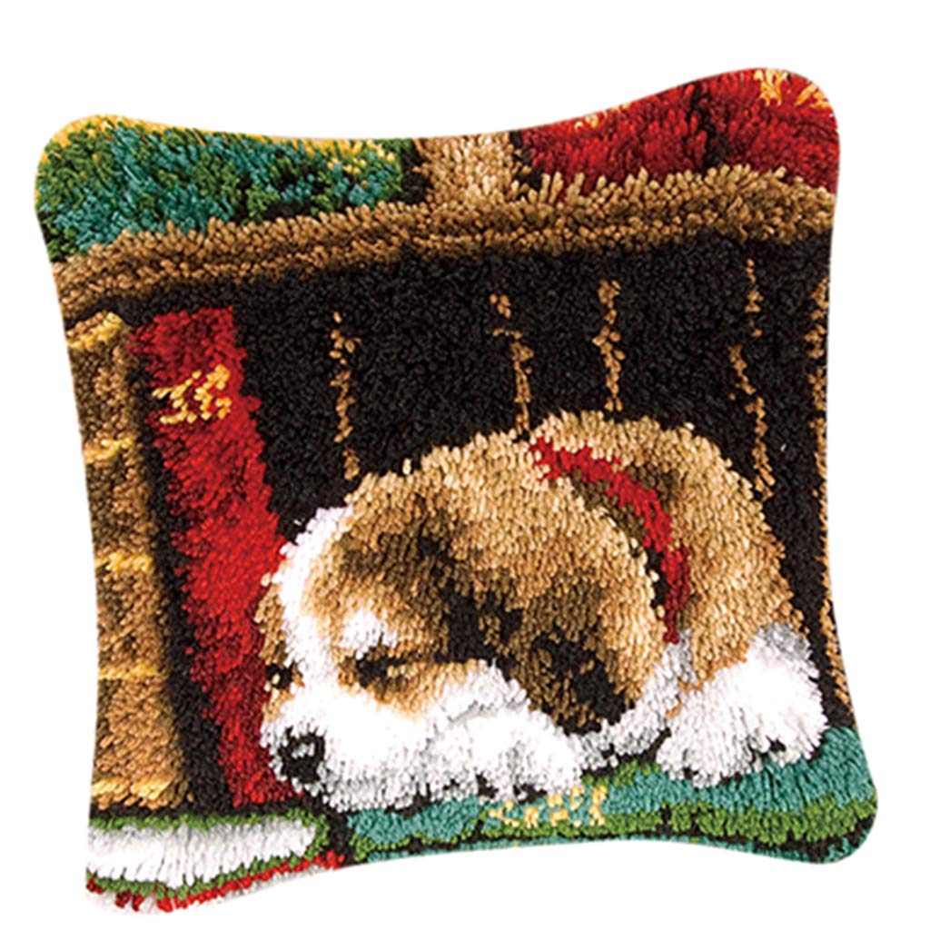 Prettyia Latch Hook Kits Lovely Carpet Latch Hooking Rug Kits Cushion Embroidery for Kids Dog