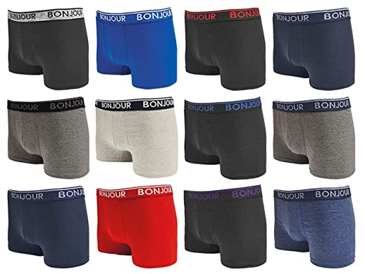 0cd9a23a8073 Bonjour Hipster Boxers (12 Pack Premium Cotton Rich, Fitted Trunk Men's  Underwear (Small