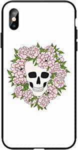 Okteq Case for iphone XS Max Shock Absorbing PC TPU Full Body Drop Protection Cover matte printed - skull lot of flowers By Okteq