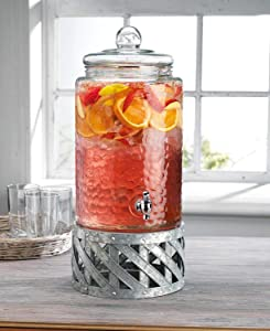 Home Essentials Fiddle & Fern 3 Gallon Beverage Dispenser W/Galvanized Base 517